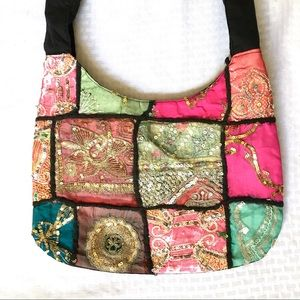 Patchwork Fabric Shoulder Bag Sequin Embroidery